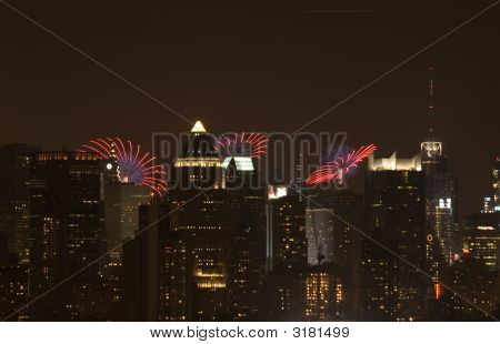 Night City With Fireworks On The Background