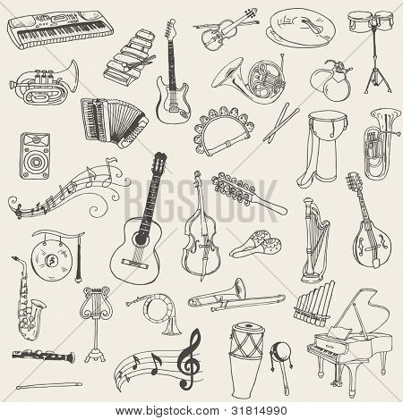 Set of Music Instruments - hand drawn in vector