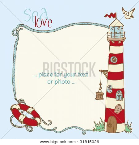 Nautical Card - with place for your text or photo in vector