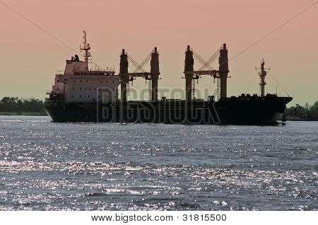 Bulk Carrier Cargo Ship On Mississippi River