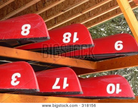 Six Stored Canoes