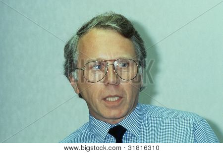 BLACKPOOL, ENGLAND - SEPTEMBER 4: Jeff Rooker, Labour party Member of Parliament for Birmingham, Perry Barr, speaks at a meeting on September 4, 1989 in Blackpool, Lancashire, England.