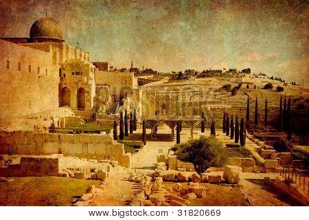 Ruins in old city Jerusalem Israel