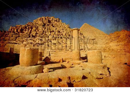 Pyramids of Giza -  imitation of an ancient picture
