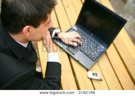 Business Man Working Outdoor