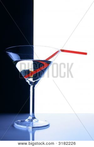 Cocktail Glass Over Black And White Background