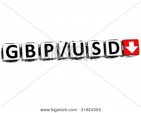 3D Currency Gbp Usd Rate Concept Symbol Button