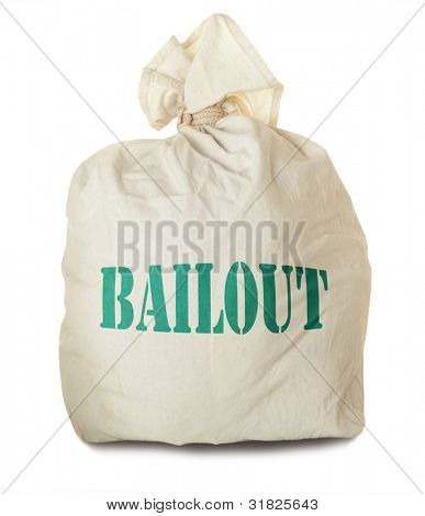 Bailout.  Money bag isolated on white background