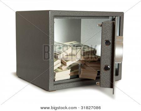 Banks safe with open door