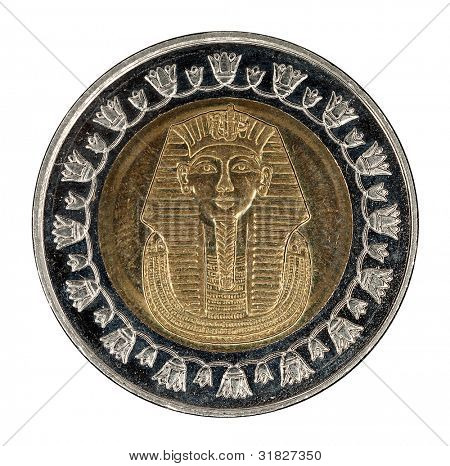 old Egyptian coin isolated on white