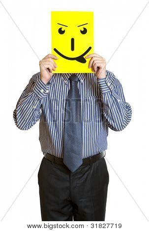 Man with the painted happy smile on the sheet of paper over his face isolated on white