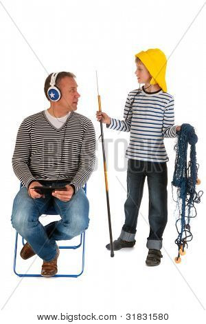 Little boy will go out for fishing with his father