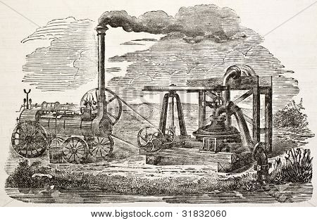 Antique centrifugal pump old illustration. Created by Lepage, published on L'Illustration, Journal Universel, Paris, 1863