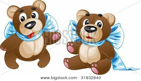 Kids soft toy - cute teddy bear with a bow in different poses