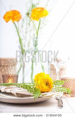Festive Table Setting With Flowers