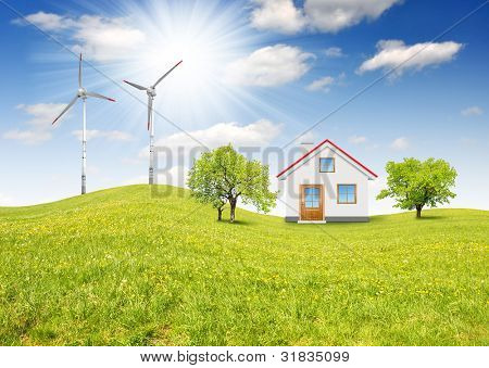 house in spring landscape with wind turbines
