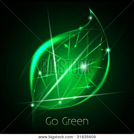 go green abstract background - ecology concept - green leaf symbol made of light