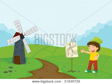 Illustration of boy sketching