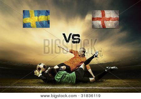 Friendly soccer match between Sweden and England