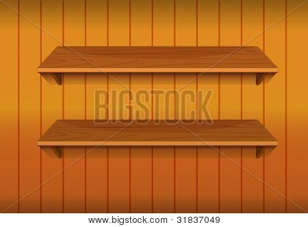 Illustration of empty wooden shelves