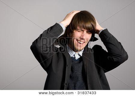 Shocked man grabbed her hands behind her head