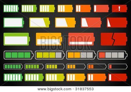 verschiedene Batterie-Indikatoren-Auflistung