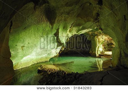 Tropical Cave With Sea Water