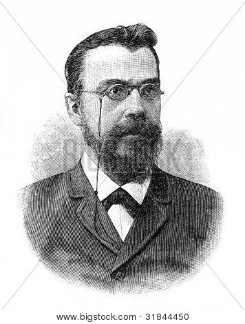 Mikhail Sergeyevich Korelin (1855-1899) - Russian historian.  Engraving by  Shyubler. Published in magazine