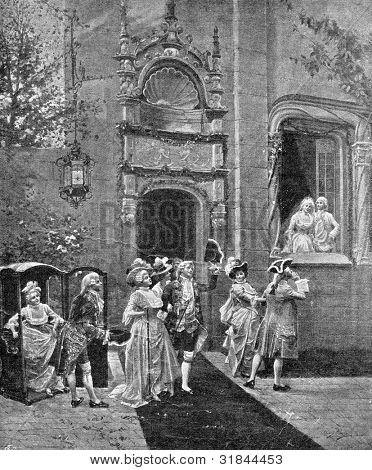 Return of the guests. Engraving by Geshl from picture by  Alonzo Peretz. Published in magazine