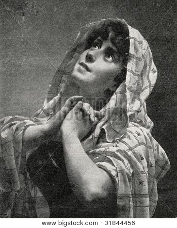 Prayer. Engraving by Bong from picture by Lik. Published in magazine