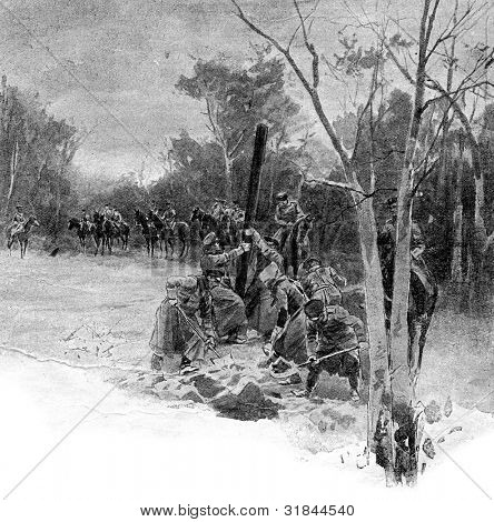 Soldiers digging the grave. Published in magazine