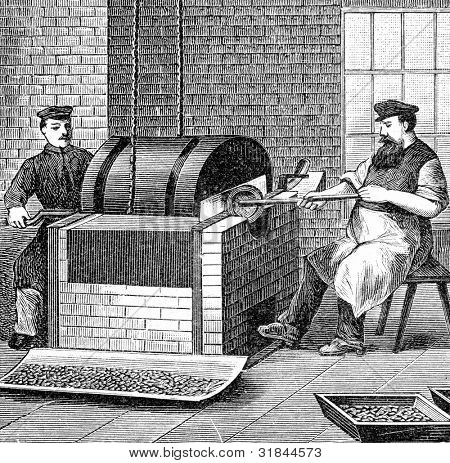 Factory for production of fountain pens. Purification of feathers from the oil. Engraving by  Shyubler. Published in magazine