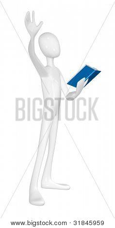 Mann mit Buch isolated on white Background.