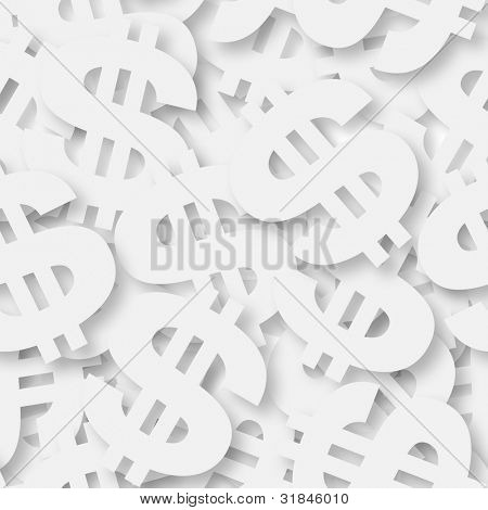 Seamless white dollar sign background - texture pattern for continuous replicate.