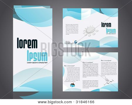 Professional business catalog template or corporate 3 fold brochure design with inner pages  for document, publishing, print and presentation. Vector illustration in EPS 10.