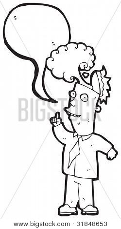 man with overheated brain