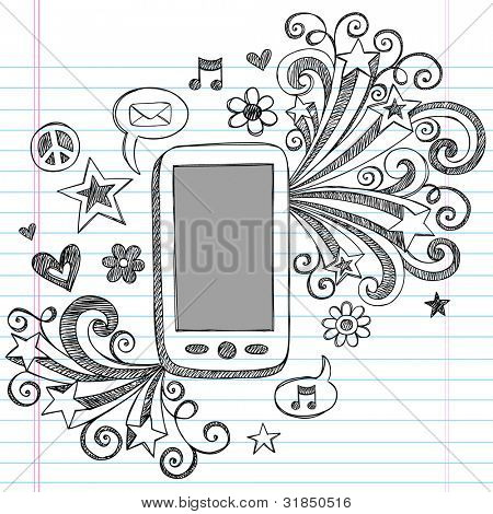 Cell Phone Mobile PDA Sketchy Hand-Drawn Notebook Doodles with Shooting Stars, Email Icon, Music, and Speech Bubbles- Vector Illustration Design Elements on Lined Sketchbook Paper Background
