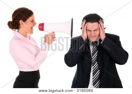 Woman Yelling At Man Through Megaphone