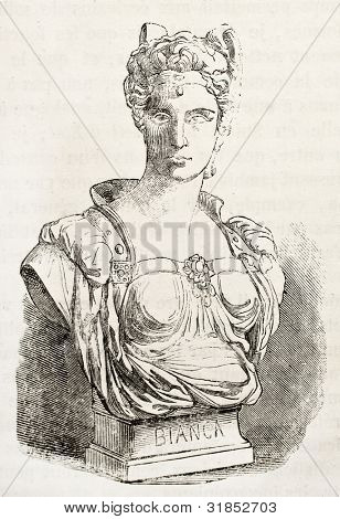 Bianca Cappello marble bust (Italian noblewoman). After sculpture by Marcello, published on L'Illustration, Journal Universel, Paris, 1863