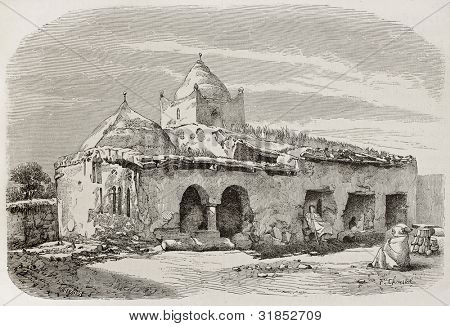 Sidi-Ben-Hassen mosque, Kabylie, Algeria. Created by Girardet, published on L'Illustration, Journal Universel, Paris, 1863