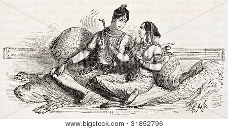 Parvati and Shiva old representation (Hindu divinities). Created by Godefroy-Durand, published on L'Illustration, Journal Universel, Paris, 1863