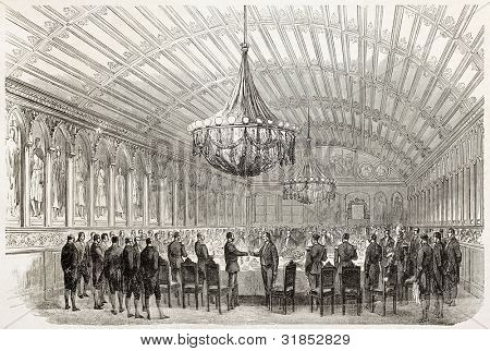 German confederated princes diner in Emperors hall in Romer palace, Frankfurt. Created by Godefroy-Durand, published on L'Illustration, Journal Universel, Paris, 1863