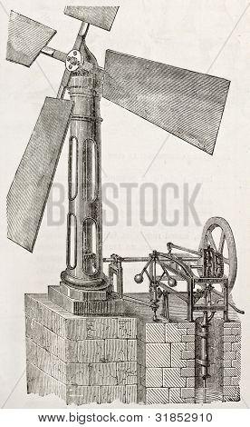Bernard Apparat alte Abbildung (Wind-Pumpe). erstellt von Lambert, veröffentlicht am l ' Illustration, jou