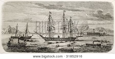 French people in Rio de Janeiro boarding  Astree ship to take part in Te Deum in occasion of Puebla taking. Created by Lebreton, published on L'Illustration, Journal Universel, Paris, 1863