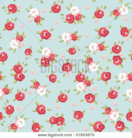 English Rose, Seamless wallpaper pattern with pink roses on blue background, vector illustration