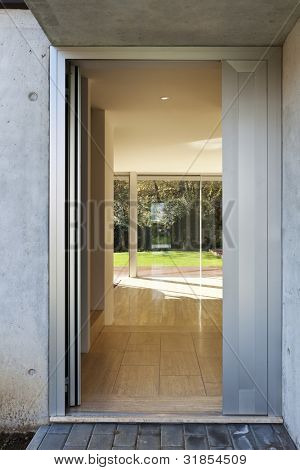 beautiful modern house, interior view from outside
