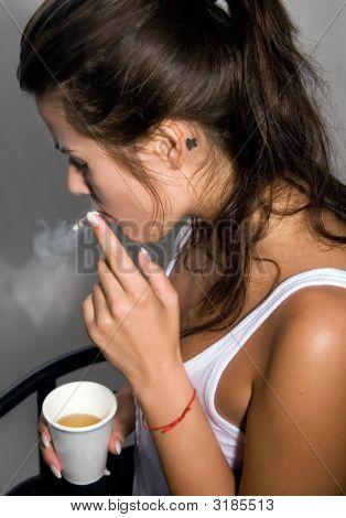 Upset Girl Smoking Cigarette