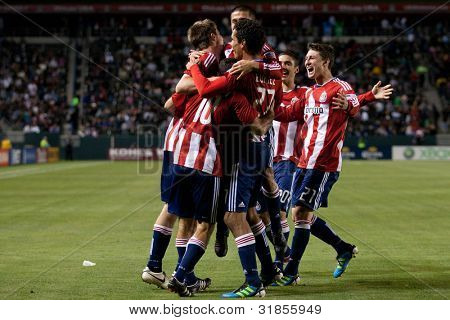 CARSON, CA. - JUNE 1: Chivas USA celebrate a goal during the MLS game between Vancouver Whitecaps & Chivas on June 1 2011 at the Home Depot Center in Carson, CA.