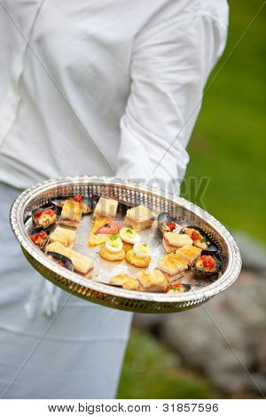 a waiter serving appetizers at a wedding or catered event