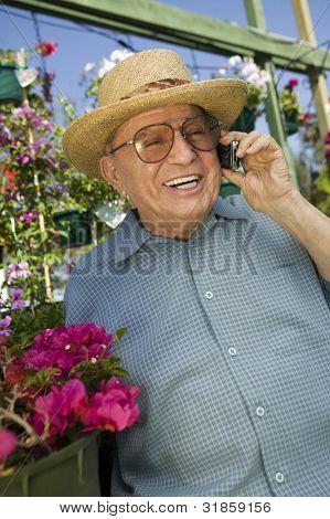 Senior Man Using Cell Phone
